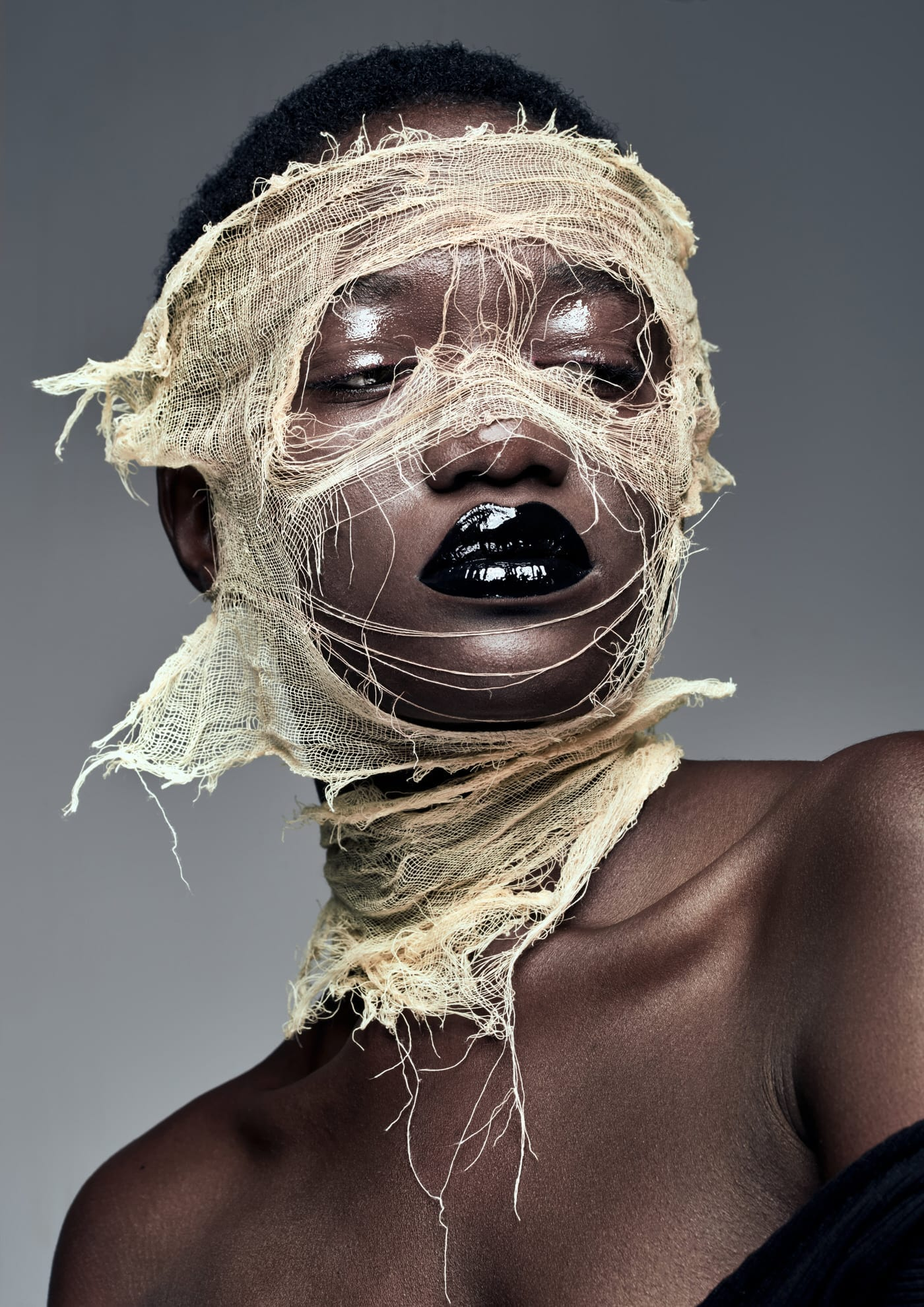 tulle on face for beauty photography