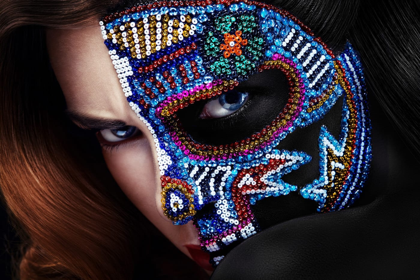 beads glued on face for beauty photography