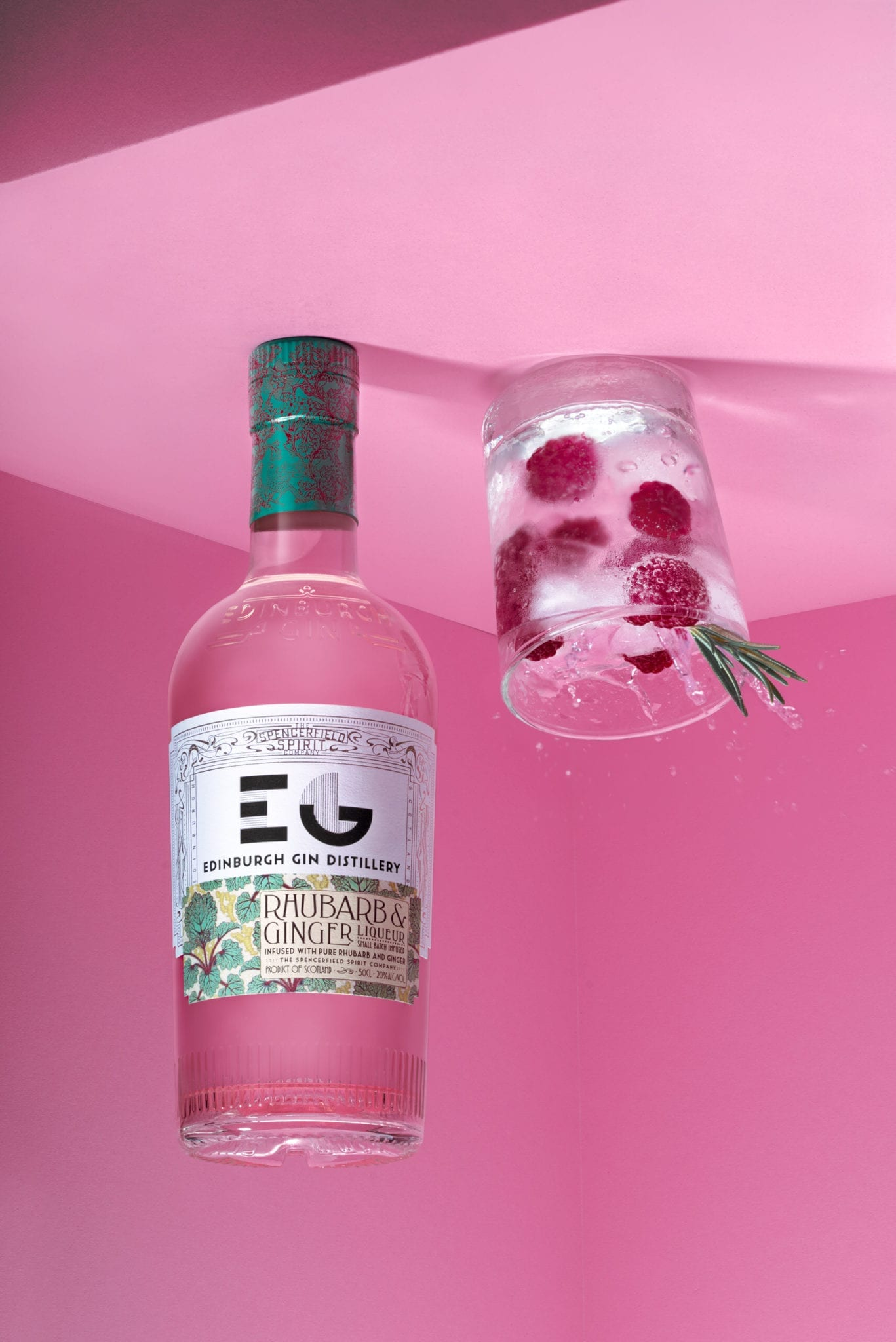 gin bottle photography pink